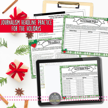 Headline Writing Practice for Yearbook or Newspaper, Christmas Theme, NO PREP