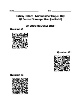 Holiday History - Martin Luther King Day: QR Scanner Scavenger Hunt (on iPads!)