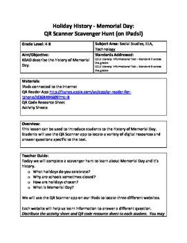 Holiday History - Memorial Day:  QR Scanner Scavenger Hunt (on iPads!)