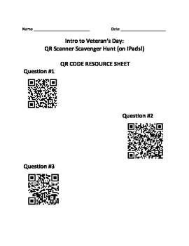 Holiday History - Veteran's Day:  QR Scanner Scavenger Hunt (on iPads!)