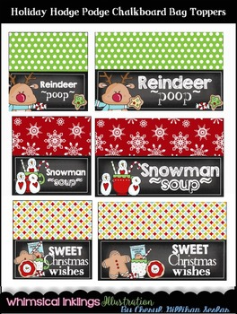 Holiday Hodge Podge Chalkboard Bag Toppers