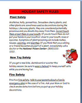 "Holiday "" Holiday Safety/ Fun Activities""- lesson,fun activities,coloring pages"