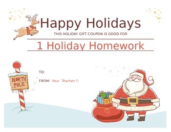 Holiday Homework Coupon