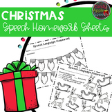 Christmas Speech Homework Sheets