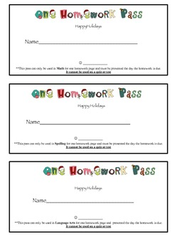 Holiday Homework Pass