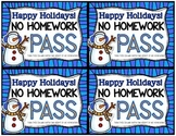 Holiday Homework Pass FREEBIE