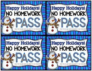 Holiday Homework Pass FREEBIE
