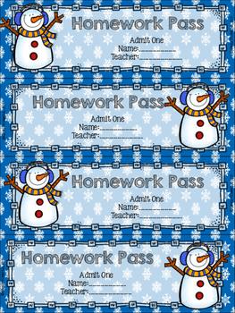 Holiday Homework Passes