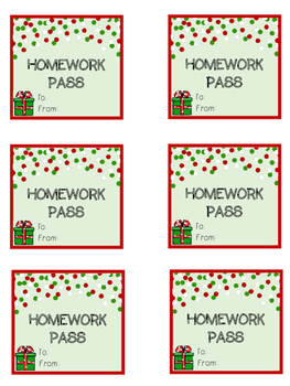 Holiday Homework Passes FREEBIE