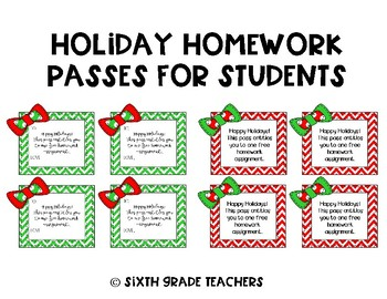 Holiday Homework Passes for Students