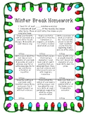 Holiday Homework: Reading Choice Board