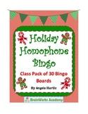 Holiday Homophone Bingo Cards- A class pack of 30 Bingo Cards