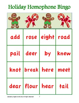 holiday homophone bingo cards a class pack of 30 bingo cards