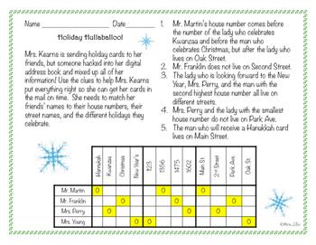 Holiday Hullaballoo!  A December Logic Puzzle