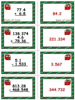 Christmas Math Skills & Learning Center (Adding & Subtracting Decimals)