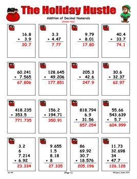 Holiday Hustle Game Cards (Add & Subtract Decimals) Sets 4-5-6