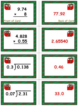 Christmas Math Skills & Learning Center (Multiply & Divide Decimals)