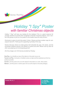 Winter I SPY Game and Poster NO PREP