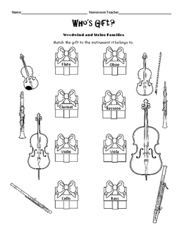 Holiday Instrument Family Worksheets