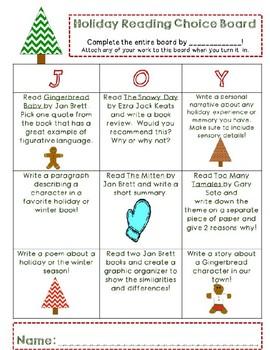 Holiday Intermediate Literacy Board
