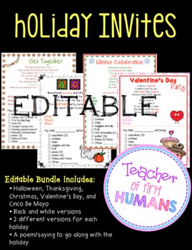 Holiday Invites to Parents (Editable)