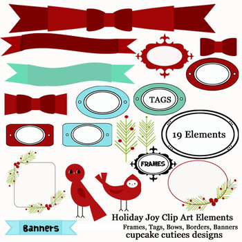 Holiday Joy Frames and Borders Digital Clip Art Set
