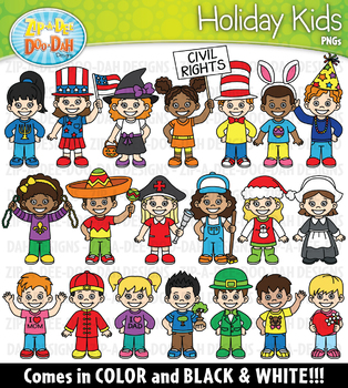Holiday Kid Characters Clipart Set {Zip-A-Dee-Doo-Dah Designs}