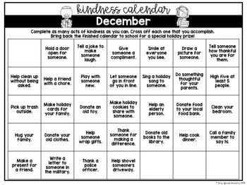 Holiday Kindness Calendar- FREE!