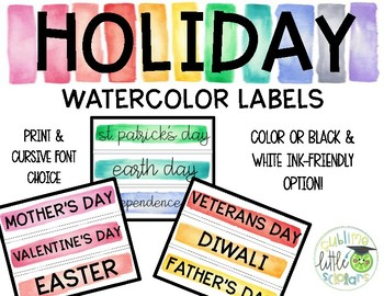 Holiday Labels Watercolor