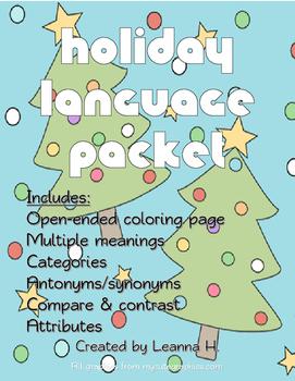 NO PREP Holiday Language Packet