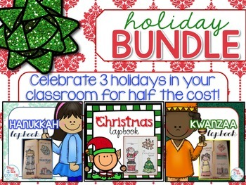 Holiday Lapbook BUNDLE { Christmas, Kwanzaa, and Hanukkah } Grades 2- 5