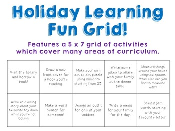 Holiday Learning Fun Grid