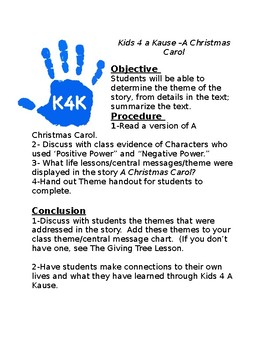 Holiday Lessons-Kids 4 a Kause/Positive Power