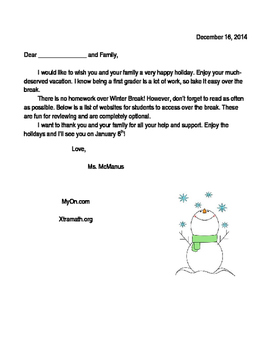 Holiday Letter Home Editable