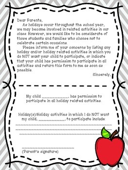 Holiday Letter to Parents