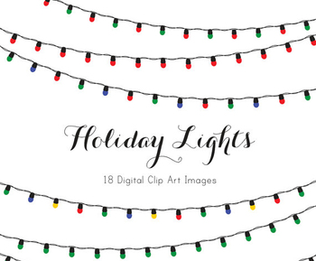 Holiday Lights- 13 Different Color Combinations- Clip Art- Fun & Festive!