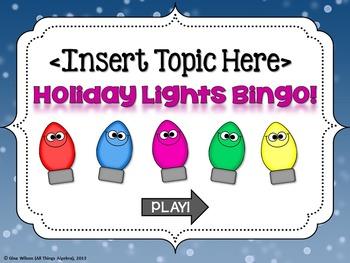 Bingo Game Template: Holiday Lights