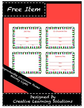 Holiday Lights Classroom Pass Set