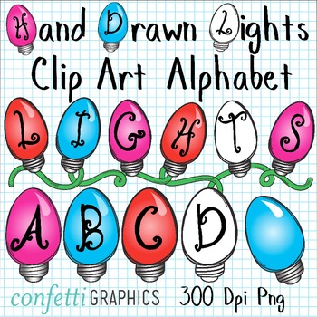 Holiday Christmas Lights Clip Art Alphabet Upper Case Letters Color Black/White