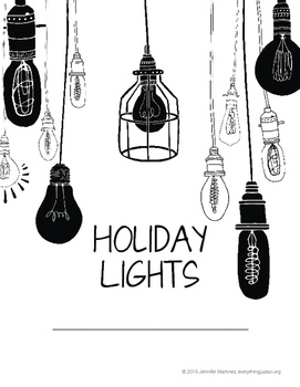 Holiday Lights Task Cards | Holiday Writing Prompts | Holiday Writing Activities