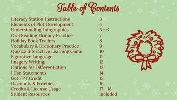 Christmas Literacy Stations, Activities, Handouts, Interactive QUIZZIZ, & More!
