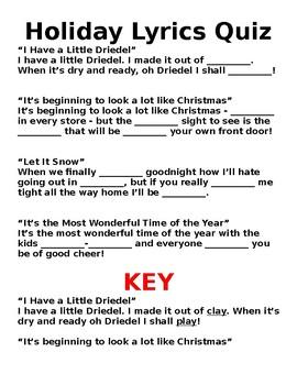 Holiday Lyrics Quiz
