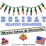 Holiday Main Idea + Details Ice Cream Cone Graphic Organizer