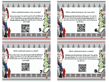 Christmas / Holiday Main Idea and Detail Task Cards with QR Scan Codes