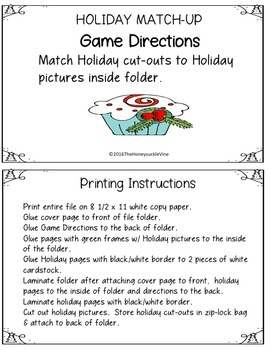 Holiday Match-Up File Folder Game