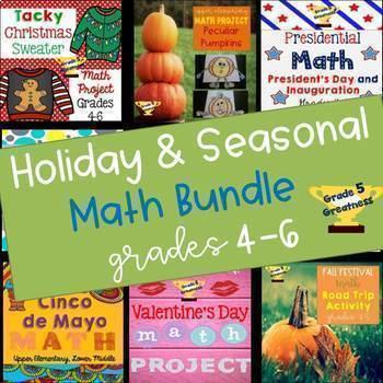 Math Holiday Bundle: Christmas, Halloween, and more!