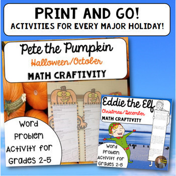 Math Craftivity BUNDLE: Multi-Step Word Problem Activities for Grades 2-5