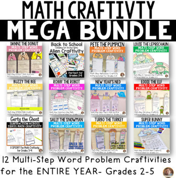 Math BUNDLE: Including New Years 2019 Multi-Step Word Problem Craftivity