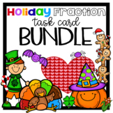 Fraction Operations Task Cards Holiday Math Bundle