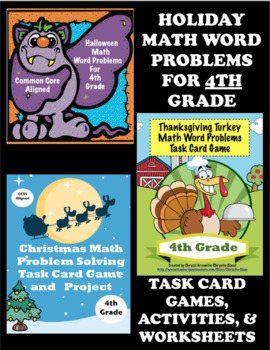 Holiday Math Bundle for 4th Grade:  Halloween, Thanksgiving, and Christmas
